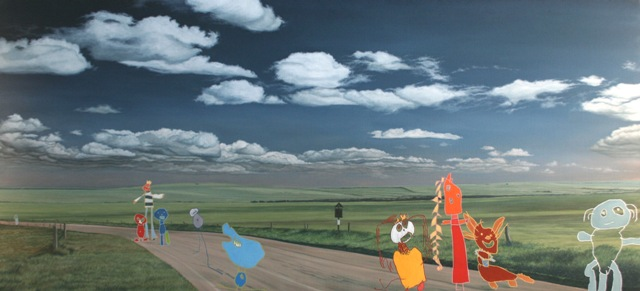 I walk across sea and land and there i met a strange old man, Olie på lærred, 150 x 300 cm