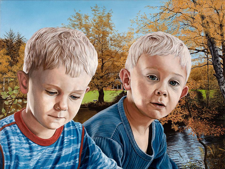 Børnebørnene i haven, efterår, Olie på lærred, 80 x 100 cm
