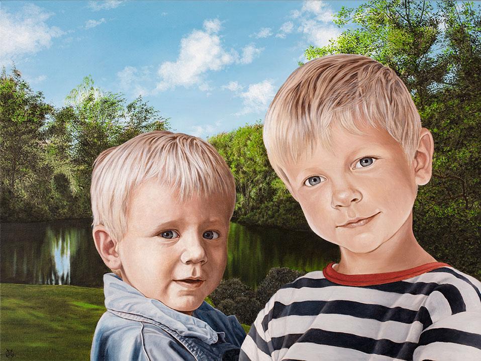 Børnebørnene i haven, sommer, Olie på lærred, 80 x 100 cm