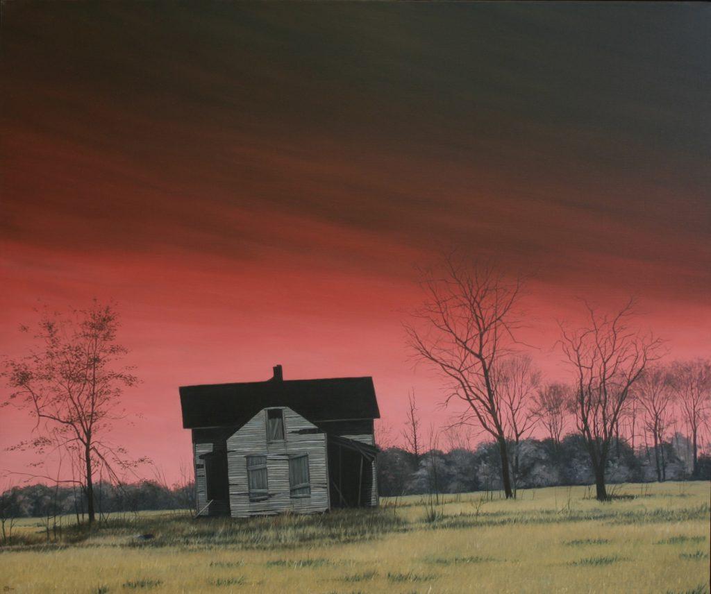 Burning Red Sky, Olie på lærred, 100 X 120 cm