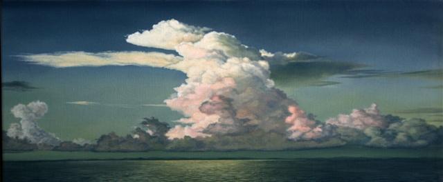 Clouds 2, Olie på lærred, 75 x 200 cm