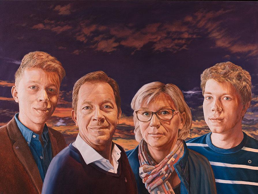 Familien Brøgger, Olie på lærred, 90 x 110 cm