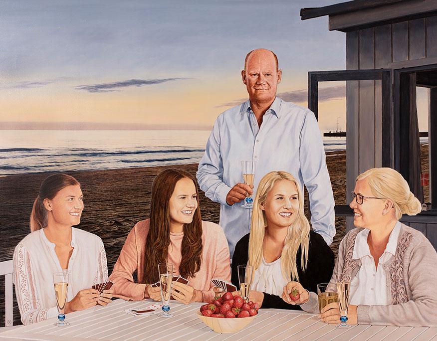 Familien Hauberg, Olie på lærred, 150 x 190 cm