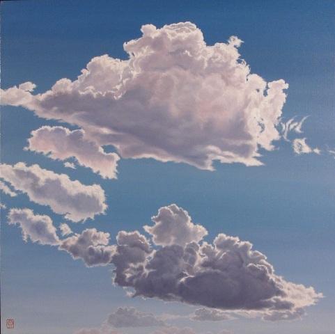 Helle's Clouds, Olie på lærred, 110 x 110 cm