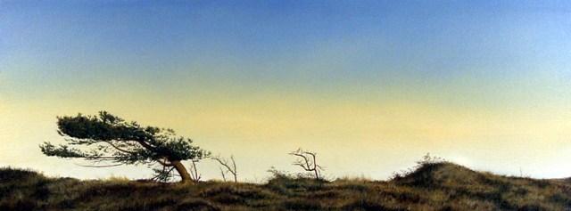 Landscape With Dark Tree, Olie på lærred, 75 x 200 cm