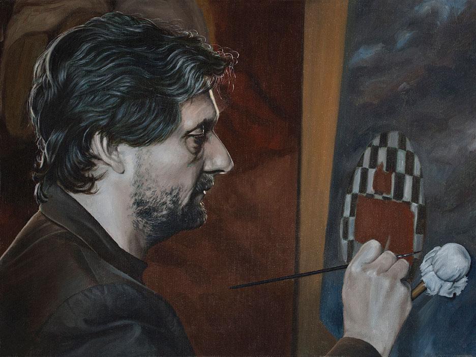 Selvportræt, Olie på lærred, 35 x 48 cm