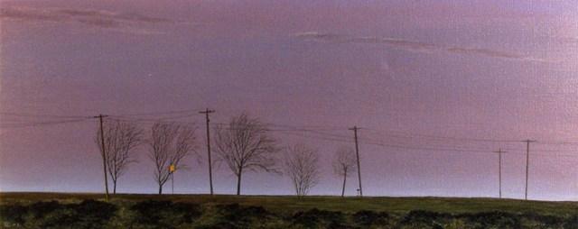 Telephone Poles, Olie på lærred, 75 x 200 cm