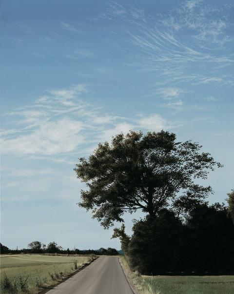 Tree At Road, Olie på lærred, 100 x 80 cm
